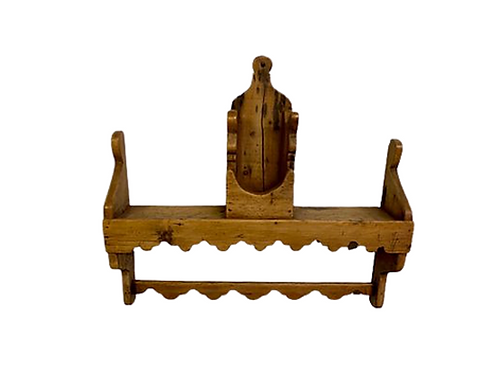 Mortised IRISH spoon rack with holder for a mortar & pestle eary 19th.century