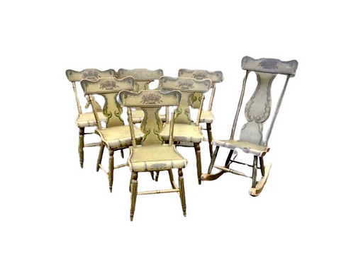 :Set of six Pennsylvania paint decorated side chairs with matching rocker