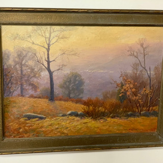 Oil painting on canvas by WC Baker New York Ithaca 1950s both 8
