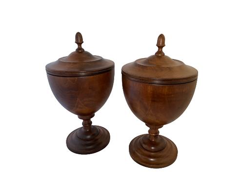 Inlay walnut Urns or vases