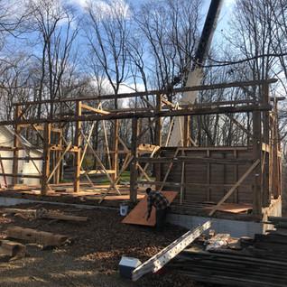 Timber framing in progress
