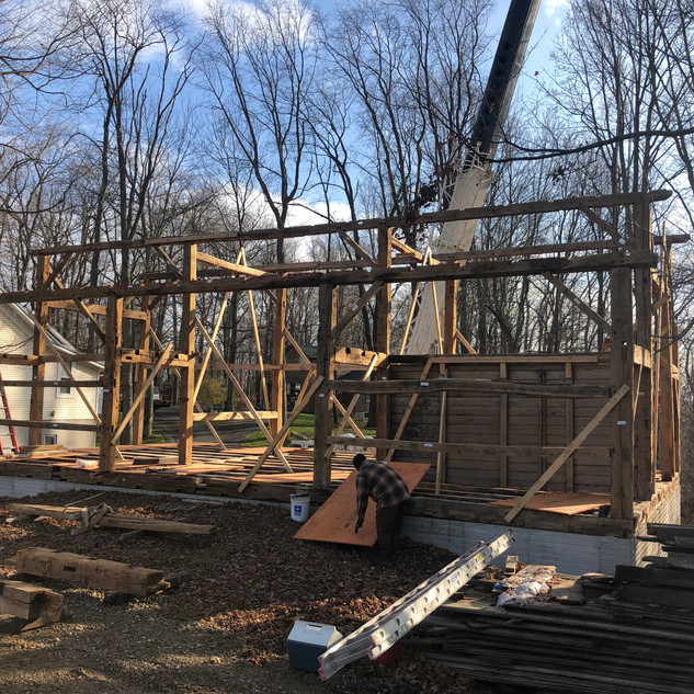 Timber framing in progress