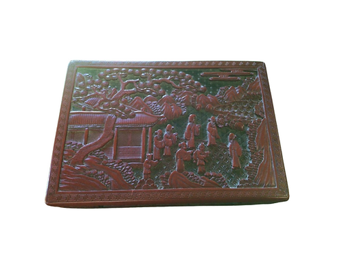 Large Cinnabar Lacquer Chinese Carved Box