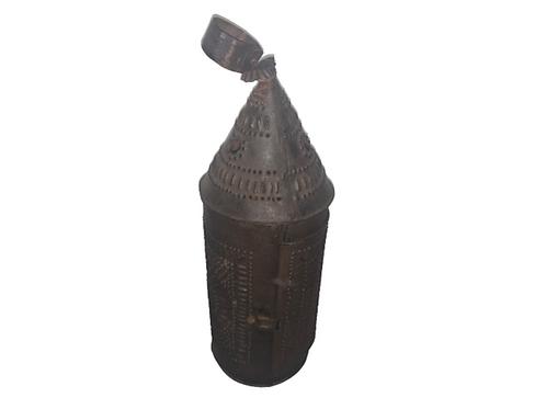 Pierced tin candle lantern
