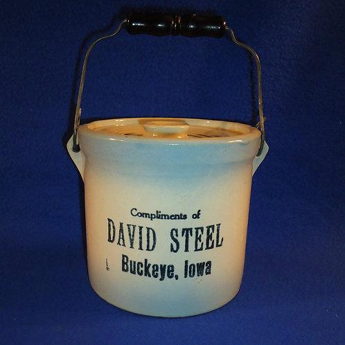 David Steel, Buckeye, Iowa Blue and White Stoneware Butter Crock