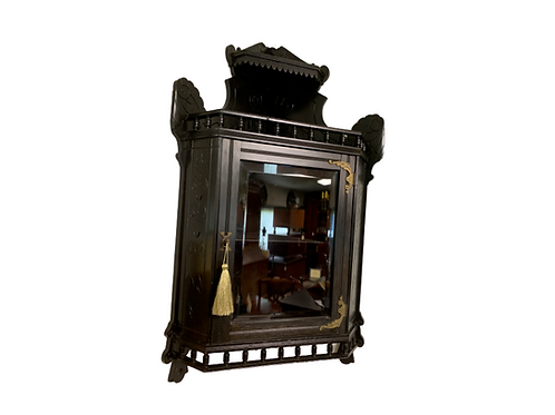 Victorian black ebony hanging corner cupboard