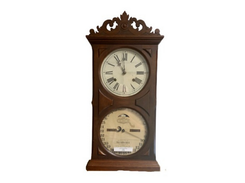 : ITHACA 8 DAY NO.10 CARVED TOP FARMERS CALENDAR CLOCK