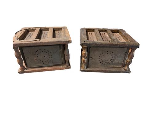 Pr. of wood & tin foot warmers