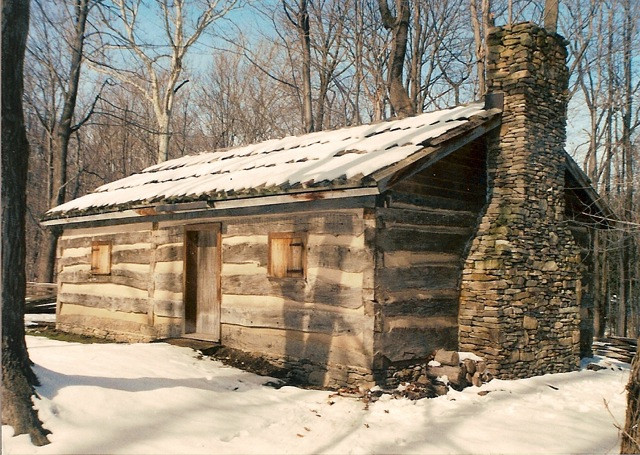 1830s Hand hewned, double pen log barn  Originated from Mount Vernon, Ohio. It was reconfigured to be a replica of James A Garfields original double pen log house and reconstructed on the original site in Moreland Hills, Ohio.