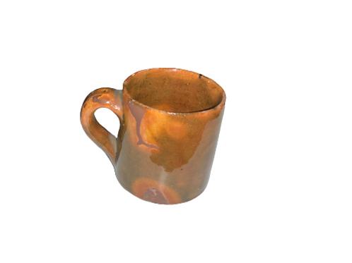 Multicolored glaze Redware cup