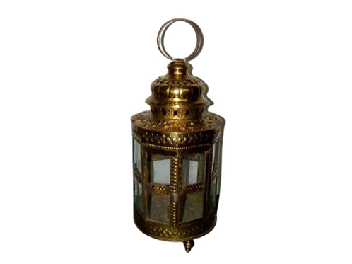 : LARGE BRASS CANDLE STICK LANTERN WITH GLASS