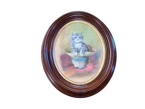 Marble dust sandpaper painting of a kitten