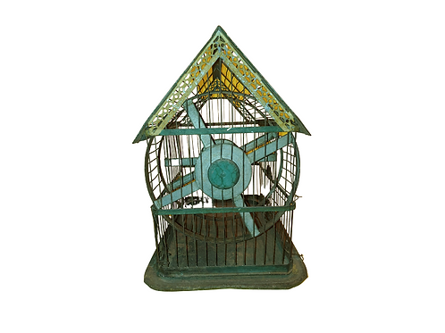 Tole/tin small-animal cage with wheel