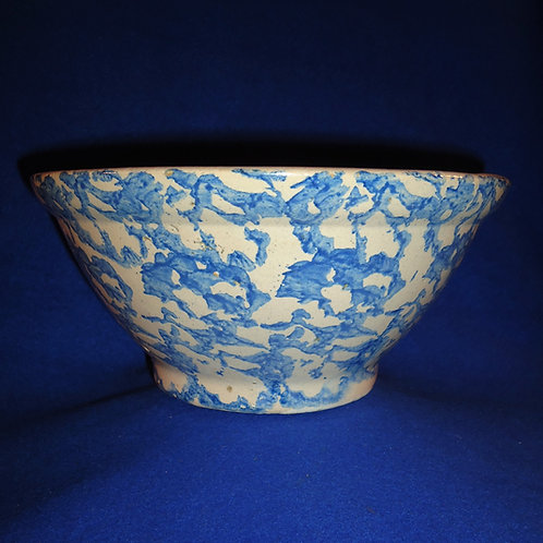 Blue and White Spongeware Stoneware Bowl with Careful Sponging 9 1/4""