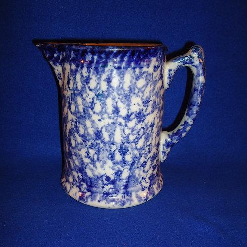 Blue and White Spongeware China Pitcher  #4554