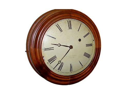 WALNUT EIGHT DAY ROUND GALLERY CLOCK