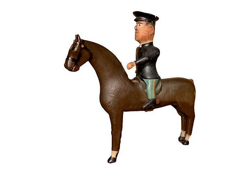 Folk art carved painted horse with rider C.1920s