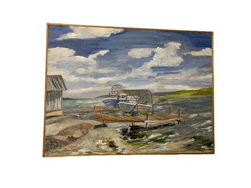 Oil painting on Masonite probably 1950s