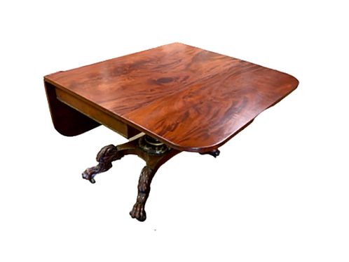 CLASSICAL MAHOGANY DROP LEAF TABLE WITH  STENCIL