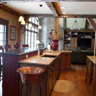 Barn wood beams used in kitchen renovation