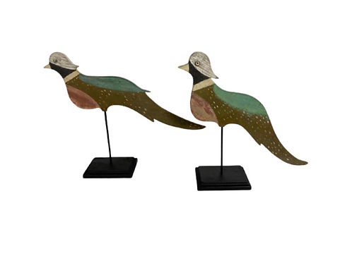 Folk art paint decorated Pr. of Pheasants