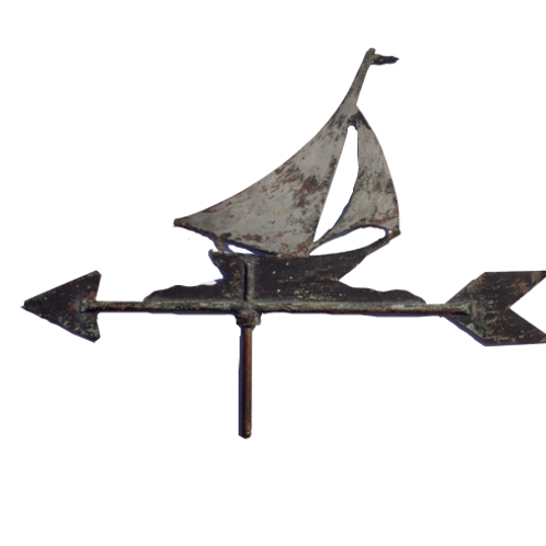 COPPER WEATHER VANE OF A SAIL BOAT