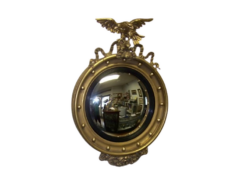 CONVEX MIRROR IN GOLD PAINT AND GOLD LEAFING WITH A NICE EAGLE