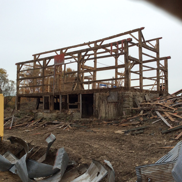 The timber frame completed and relocated