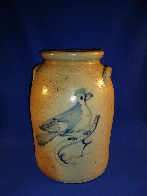 West Troy Pottery 4 Gallon Churn or Jar with Huge Bird, #4846