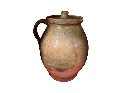 Redware pitcher with handle and led 19th. century