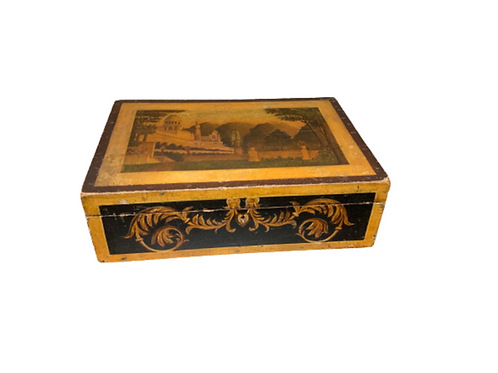 Paint decorated School girl sewing  box with a mirror in side