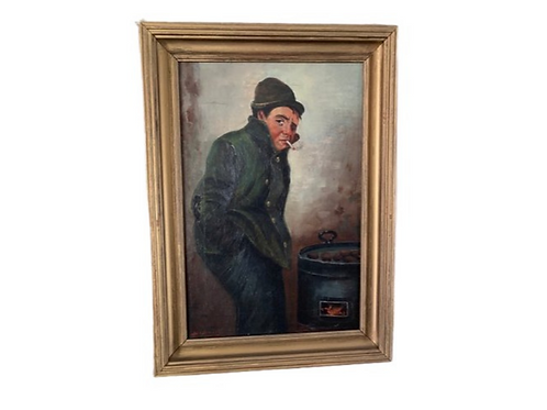 Oil on canvas of a man standing on the corner roasting chestnuts