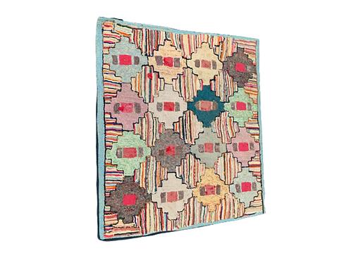 Folk Art geometric hooked rug