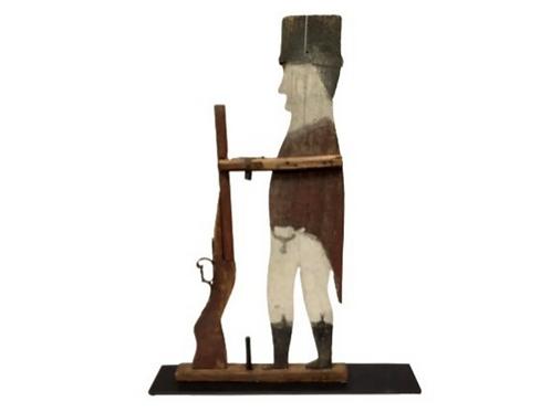 Folk art painted wood soldier of 1812 war weather-vane