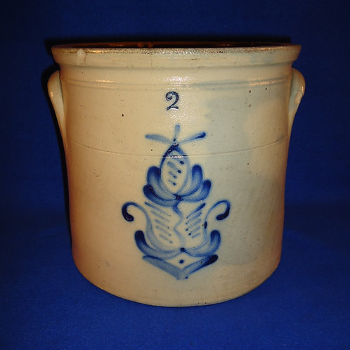 Circa 1870 2 Gallon Stoneware Crock with Fancy Flower from the Northeast