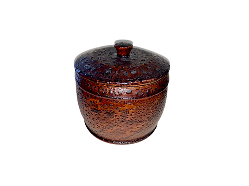 Paint decorated vinegar grained covered container