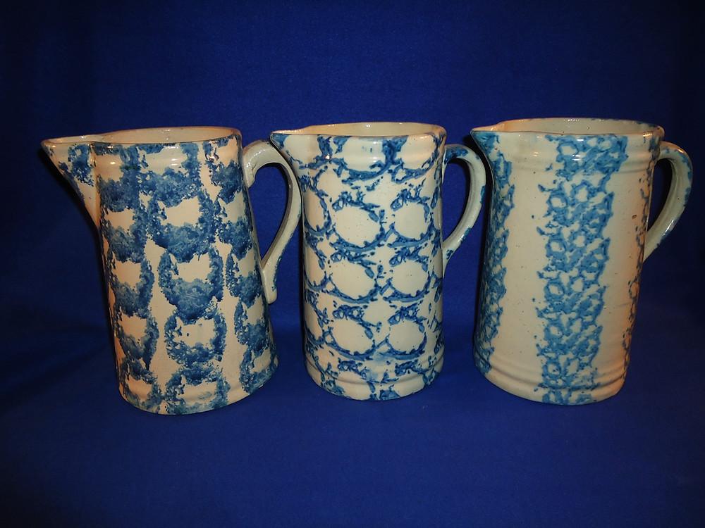 the antique spongeware pitchers