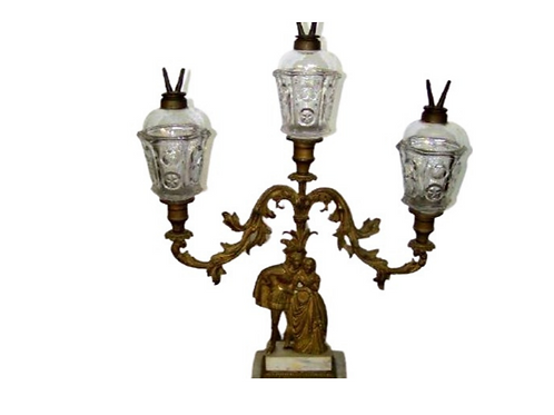 PRESSED GLASS STAR & PUNTY THREE LIGHT GIRANDOLE WHALE OIL LAMP