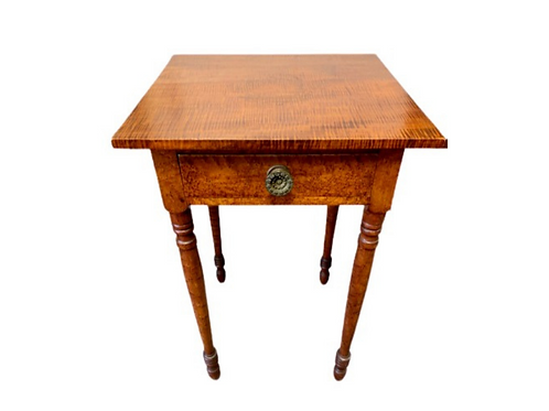 Federal tiger maple and birds eye maple one drawer stand