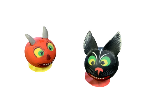 Halloween candy containers of two cats