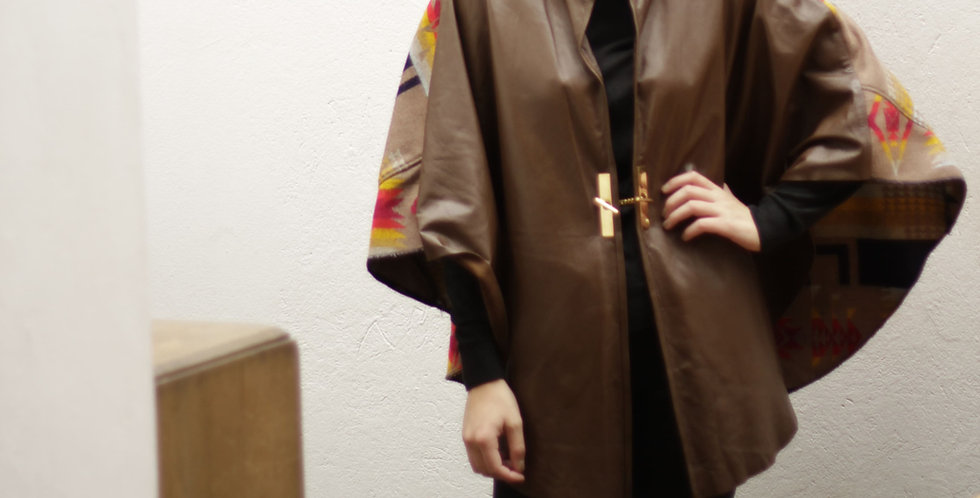 Leather Cape Brown and fabric