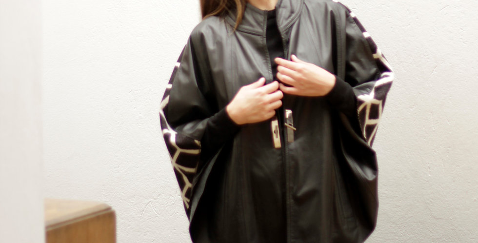 Leather Cape Black and cubes fabric