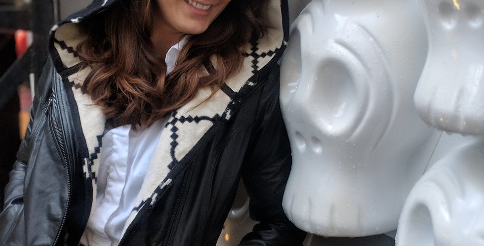 Leather jacket and removable hoodie vest