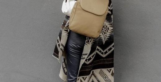 Ethnic Brown gray shawl poncho
