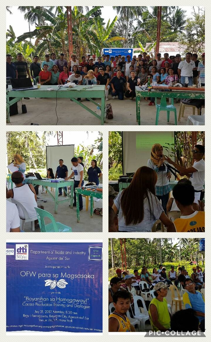 Bayanihan sa Hamogaway  As the OPM team comes back to Agusan Del Sur last July 31,2017 for the Cacao Production Training and Dialogue.  Ofw para sa Magsasaka in collaboration with Department of Trade and Industry.