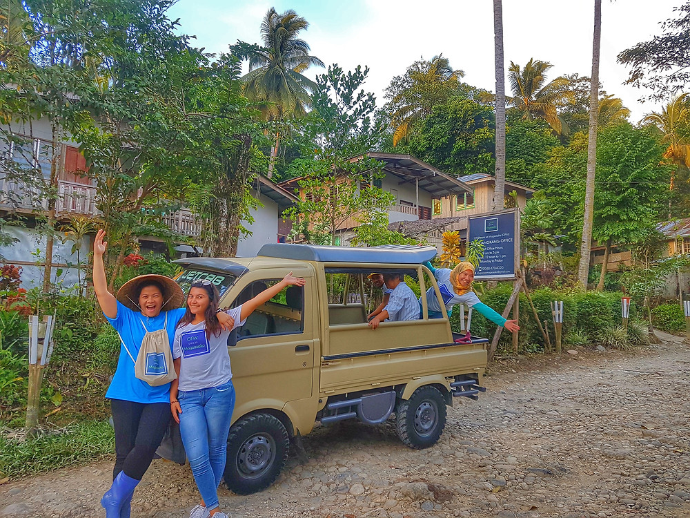 Cacao doctors Luchie, Iman and Mama Irene with our multi-cab, the Rugger. We are joined by our niece who is a student from Germany doing her OJT learning about what a social enterprise is.