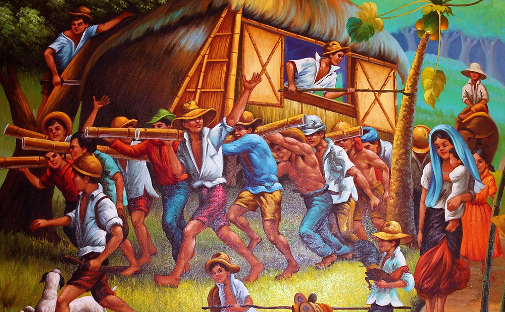 The traditional Bayanihan in the Philippines