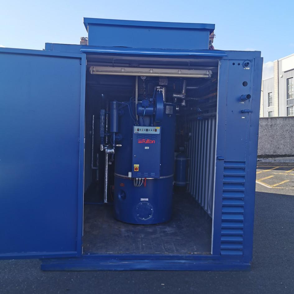 Fully packaged 320Kg/hr Nat gas fired mobile steam boiler house