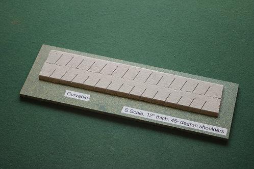 S Scale Roadbed, 4.5mm branchline, 45-degree shoulders-curvable