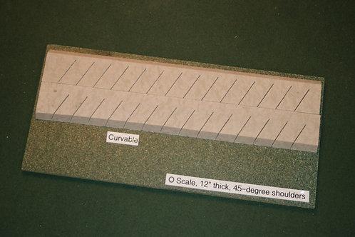 O Scale Roadbed, 6.4mm Branchline, 45-degree shoulders-Curvable
